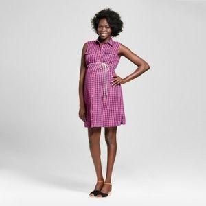 Womens Purple Maternity Sleeveless Checkere XS
